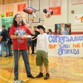 Debbie Matteri, left, National Junior Honor Society sponsor at Southwest Junior High School, announc...