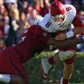 Arkansas Democrat-Gazette/STEPHEN B. THORNTON -- South Carolina's Aldrick Fordham sacks Arkansas QB ...