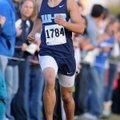 Dino Andrade, from Springdale Har-Ber heads down the final stretch Saturday during the Class 7A Stat...