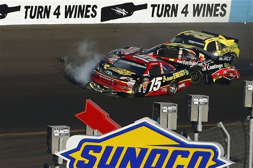from-left-clint-bowyer-15-jeff-gordon-and-joey-logano-crash-in-turn-4-during-the-nascar-sprint-cup-series-auto-race-at-phoenix-international-raceway-sunday-nov-11-2012-in-avondale-ariz