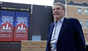 Jim Lehrer walks outside the Magness Arena at the Daniel L. Ritchie Center for Sports and Wellness, site of the first 2012 presidential debate, on the campus of the University of Denver, Monday, Oct. 1, 2012, in Denver. Lehrer is the debate moderator.