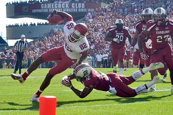 Arkansas receiver Mekale McKay, tripped up just short of the goal line against South Carolina, had three catches for 49 yards in the Razorbacks' 38-20 loss to the Gamecocks on Saturday. The drive ended with a Dennis Johnson fumble at the 5.