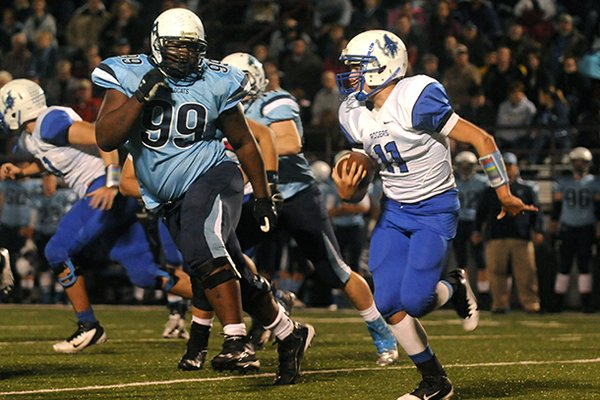 Springdale Har-Ber defensive tackle Josh Frazier (99) is one of the top in-state targets for the 2014 class.