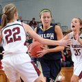Alexis Jones, center, of Shiloh Christian School drives between Shelby Wood, left, and Taylor McPher...