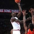 Jacorey Williams attempts a shot during Arkansas' 73-68 win over Sam Houston State on Nov. 9, 2012 a...