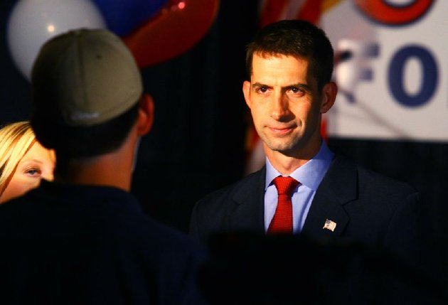 5222012-arkansas-democrat-gazettestephen-b-thornton-republican-tom-cotton-waits-to-do-a-televison-interview-during-a-watch-party-in-hot-springs-tuesday-evening-for-cottons-bid-to-be-the-republican-nominee-for-the-race-for-arkansas-4th-district-congresion-seat