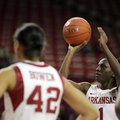 Junior Keira Peak (shown in an earlier game) had 24 points and 10 rebounds to lead the Arkansas wome...