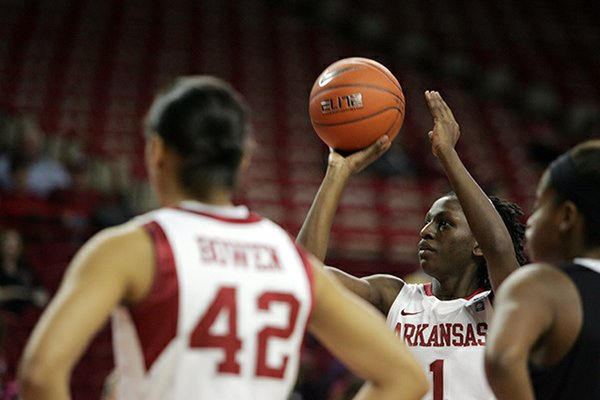 Junior Keira Peak (shown in an earlier game) had 24 points and 10 rebounds to lead the Arkansas women's basketball team to a 79-67 victory over Oregon on Sunday.