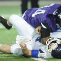 Taryll Henry, top, a Fayetteville senior defensive end, sacks Conway senior quarterback Cody Rhoades...