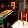 Candles illuminate some of the icons in the church. Candles served as the only light source for much...