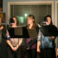 Debra Maxwell, from left, Leslie Pappas, Rachel Staff, Ginger Staff and Alice Cartwright sing during...