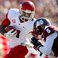 NWA Media/JASON IVESTER -- Arkansas senior wide receiver Cobi Hamilton is hit by Mississippi State j...