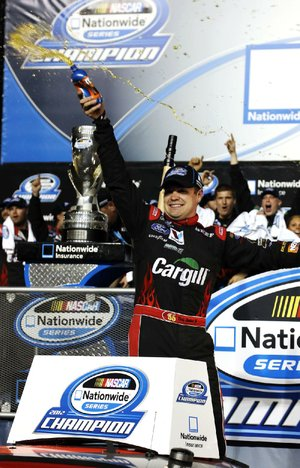 Ricky Stenhouse Jr. celebrates Saturday at Homestead-Miami Speedway after winning his second consecutive NASCAR Nationwide Series title.
