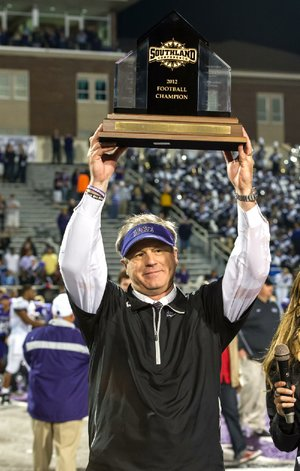 Central Arkansas Coach Clint Conque has mixed emotions about having a Southland Conference Championship trophy and a bye in the first round of the FCS playoffs.