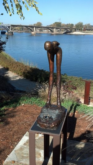 """Conversation with Myself,"" one of three sculptures stolen from downtown Little Rock, is seen in this courtesy photo from the Little Rock Police Department."