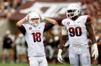 NWA Media/JASON IVESTER -- Arkansas kicker Zach Hocker (left) and defensive end Colton Miles-Nash look on after a missed field goal during the third quarter against Texas A&M on Saturday, Sept. 29, 2012, at Kyle Field in College Station, Texas.