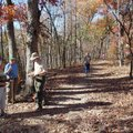 Hikers, from left, Barbara Chambers, Dana Phillips, Jim Warnock, Roger Byrd and Carol Byrd take a br...
