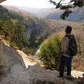 Roger Byrd of Siloam Springs takes in the view of the Buffalo River valley from the Goat Trail Nov. ...