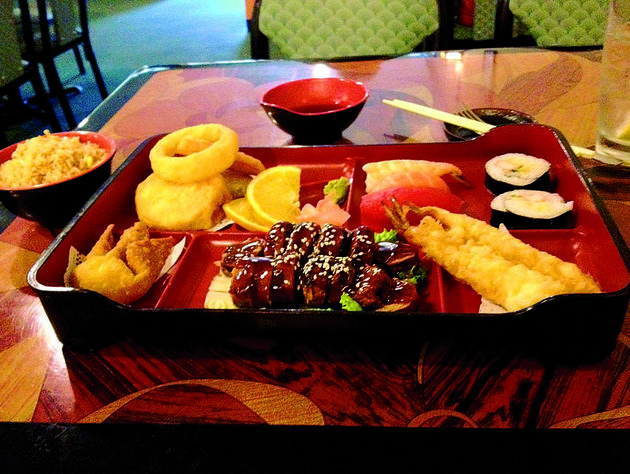 steak-teriyaki-comes-with-tempura-vegetables-a-crabmeat-puff-and-like-many-dishes-at-igibon-japanese-food-house-orange-slices-for-accent