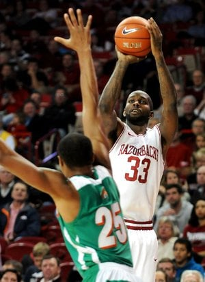 Arkansas forward Marshawn Powell (right), who finished with 21 points and 10 rebounds in Tuesday's 89-60 victory over Florida A&M, said the Razorbacks are ready to do what they do against Arizona State.