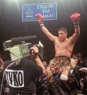 "Hector ""Macho"" Camacho, shown after defeating Roberto Duran in an IBC middleweight title fight in 1996, has been declared clinically brain dead by doctors in Puerto Rico. Camacho was shot in the face Tuesday night."