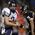 STAFF PHOTO MARC F. HENNING -- Fayetteville wide receiver Nathan Varady turns up field after a catch...