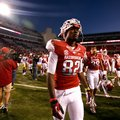 NWA Media/JASON IVESTER -- Arkansas wide receiver Mekale McKay walks off the field following the Raz...