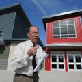 Eureka Springs School District Superintendent Curtis Turner talks at the south entrance of the new h...