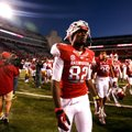 Arkansas wide receiver Mekale McKay leaves the field after the Razorbacks lost to No. 7 LSU 20-13 on...