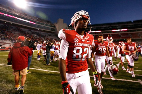Arkansas wide receiver Mekale McKay leaves the field after the Razorbacks lost to No. 7 LSU 20-13 on Nov. 23 at Reynolds Razorback Stadium in Fayetteville.