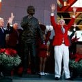 Former Arkansas Coach and Athletic Director Frank Broyles calls the Hogs on Friday during a ceremony...