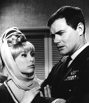 Larry Hagman appears with Barbara Eden in a scene of I Dream of Jeannie in 1967.