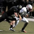 Garrett Kaufman, Bentonville senior linebacker, tackles Fort Smith Southside junior quarterback Isaa...
