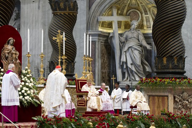 pope-benedict-xvi-center-listens-as-newly-elected-cardinal-james-michael-harvey-second-from-left-delivers-his-speech-during-a-mass-celebrated-for-the-newly-elected-cardinals-in-st-peters-basilica-at-the-vatican-sunday-nov-25-2012-the-pontiff-elevated-saturday-nov-24-six-new-cardinals-who-joined-the-elite-club-of-churchmen-who-will-elect-his-successor-bringing-a-more-geographically-diverse-mix-into-the-european-dominated-college-of-cardinals
