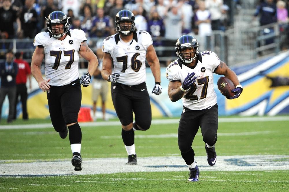 Baltimore Ravens Running Back Ray Rice Right Set Up The