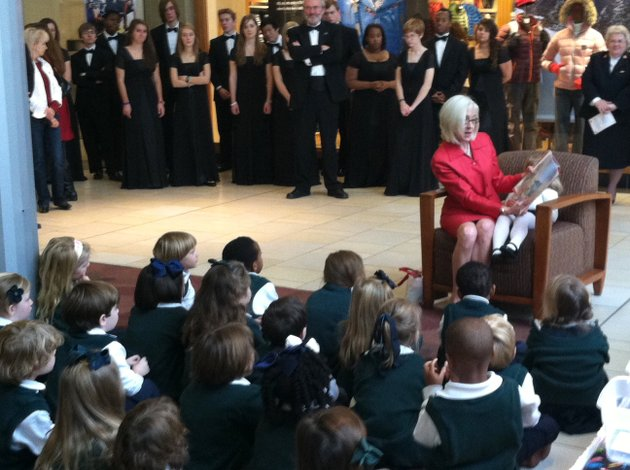 arkansas-first-lady-ginger-beebe-reads-a-christmas-story-to-children-from-episcopal-collegiate-school-on-monday-before-the-ribbon-cutting-ceremony-for-the-2012-salvation-army-angel-tree-at-park-plaza-mall