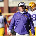LSU coach Les Miles speaks Friday, Nov. 23, 2012, on the sidelines during the second quarter against...