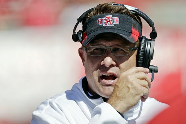 Arkansas State head coach Gus Malzahn watches the first half of their NCAA college football game against Nebraska in Lincoln, Neb., Saturday, Sept. 15, 2012. Nebraska won 42-13. (AP Photo/Nati Harnik)