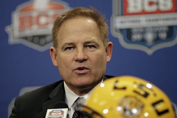 LSU head coach Les Miles speaks during a news conferemce for the BCS National Championship college football game Sunday, Jan. 8, 2012, in New Orleans. LSU faces Alabama on Monday, Jan 9, 2012. (AP Photo/David J. Phillip)