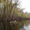 Kirsten Bartlow, watchable wildlife coordnator with Game & Fish, paddles along Lake Hickson, a natur...