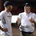 STAFF PHOTO MARC F. HENNING -- Bentonville coach Barry Lunney, right, talks to assistant coach Barry...