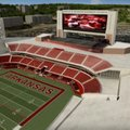 An artist's rendering shows an aerial view of the north end zone at Donald W. Reynolds Razorback Sta...
