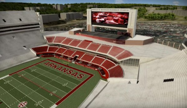 An artist's rendering shows an aerial view of the north end zone at Donald W. Reynolds Razorback Stadium following expansion.