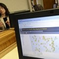 A map shows the location of sex offenders througout Benton County as Elizabeth Bowen, adminstrator o...
