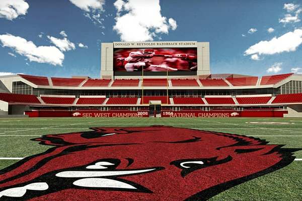 An artist's rendering shows potential expansion to the north end zone at Donald. W. Reynolds Razorback Stadium.
