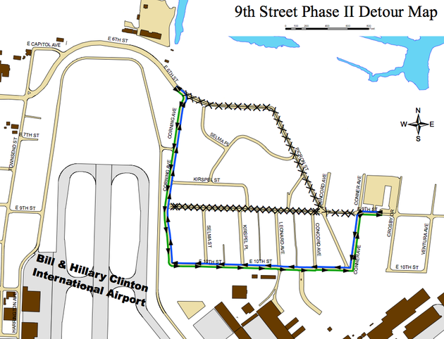 this-map-released-friday-by-the-city-of-little-rock-shows-new-restrictions-set-to-begin-next-week-as-a-project-to-reconstruct-ninth-street-near-the-bill-and-hillary-clinton-national-airport-continues
