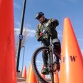 Clint Forte with Hot Springs National Park rides through an obstacle course Thursday at Arvest Ballp...