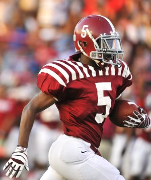 Pine Bluff running back Walter Ashley has 2,431 yards and 24 touchdowns rushing, 887 yards and 12 touchdowns receiving, 748 yards and 4 touchdowns on punt returns and 950 yards and 1 touchdown on kickoff returns in his high school career.