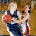 Sammy Richards, left, a Greenwood senior, secures a rebound away from Rogers Heritage junior Gina Br...