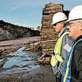 James Kent, left, business comptroller at the UPM BLandin Paper Mill, and Wayne Brandt of Minnesota ...